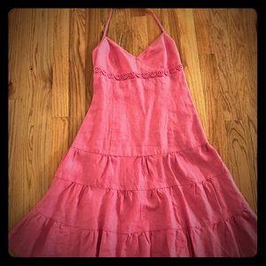 J. Crew Light Pink Linen Halter Dress